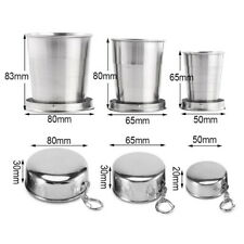 1-Stainless Steel Portable Folding Cup Telescopic Collapsible Travel Camping Cup