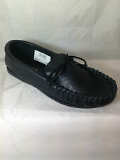 MENS BLACK LEATHER MOCCASIN SLIPPERS,ENGLISH ALL SIZES