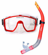 Two Bare Feet MASK & SNORKEL diving ADULT - RED SILICON