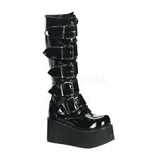 DEMONIA TRASHVILLE-518 Women's Platform Buckle Strap Black Industrial Knee Boots