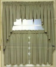 SCALLOP EDGE CURTAIN: VALANCE, TIERS, SWAG ~ VARIOUS COLORS