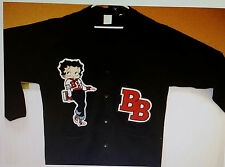 BETTY BOOP BLACK Letter Sweater & Blue Jeans Heavy Cardigan Chenille varsity