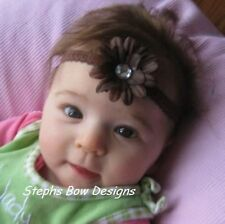 BROWN DAISY FLOWER w/BLING DAINTY HAIR BOW HEADBAND