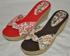 New RAMPAGE Oliviah Espadrille Wedge Sandal Red or Brown MANY SIZES AVAILABLE!