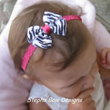 ZEBRA SHOCK PINK DAINTY HAIR BOW LACE HEADBAND ADORABLE