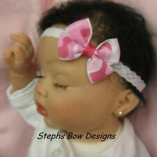 HOT PINK CAMO DAINTY HAIR BOW LACE HEADBAND ADORABLE