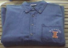 Mens Illinois Fighting Illini Denim Dress Shirt Blue NWT XL L M