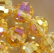 10x12mm Faceted Golden Rainbow AB Crystal Beads 36pcs