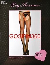 FISHNET SUSPENDER Pantyhose - RED O/S