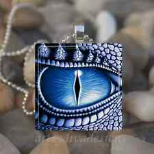 """DRAGON EYE"" GLASS TILE PENDANT NECKLACE KEYCHAIN"