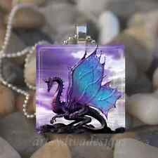 PURPLE DRAGON GLASS TILE PENDANT NECKLACE KEYCHAIN