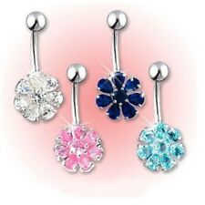 7 GEM FLOWER PETAL BELLY NAVEL RING CRYSTAL CZ B414