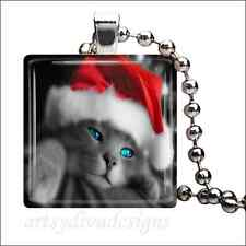 """CHRISTMAS KITTY"" CAT GLASS TILE PENDANT NECKLACE"