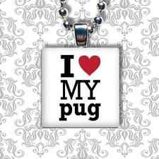 """I LOVE MY"" DOG BREED PUG LAB GLASS PENDANT NECKLACE"