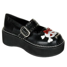 DEMONIA EMILY-221 Women's Gothic Lolita Skull Bow Platform Mary Janes Punk Shoes