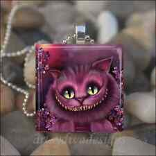 """PURPLE CHESHIRE CAT"" GLASS TILE PENDANT NECKLACE"