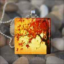 FALL AUTUMN TREE LEAVES LEAF THANKSGIVING GLASS TILE PENDANT NECKLACE KEYRING
