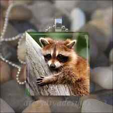 """BABY RACCOON"" GLASS TILE PENDANT NECKLACE KEYCHAIN"