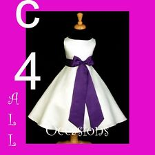 FLOWER GIRL DRESS-IVORY/PURPLE 18M 2 4 6 8 10 12 13/14