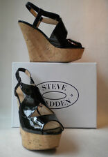 Steve Madden Wheatley Black Patent Platform Wedge Sandal