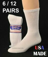 6 or 12 Pairs Womens Mens Physicians Choice White Ventilated Diabetic Crew Socks