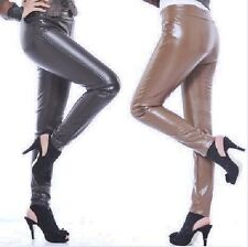 Women faux lamb leather-like poly fleece lined shaped body skinny leggings pants