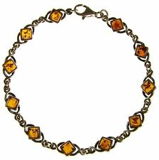 BALTIC AMBER AND STERLING SILVER 925 ANTIQUE DESIGNER BRACELET JEWELLERY JEWELRY