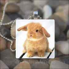 """BABY BUNNY"" EASTER RABBIT BUNNY GLASS TILE PENDANT NECKLACE KEYRING"