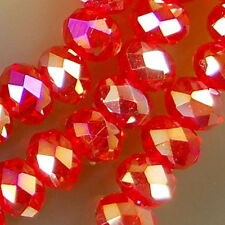 3x4mm Faceted Red Rainbow AB Crystal Beads 98pcs