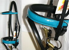 FSS PATENT Leather TURQUOISE AQUA GLOSS Comfort Padded Poll Dressage Bridle Rein
