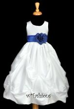 WHITE ROYAL BLUE WEDDING EASTER FLOWER GIRL DRESS 6M 9 12M18M 2 3 4 5 6 7 8 9 10
