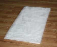 WHITE FAUX FUR FLOKATI SHAG RUGS SOFTEST PLUSH FIBERS AND NON SLIP BACKING