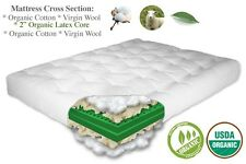"THE FUTON SHOP 9"" COMFORT REST ORGANIC COTTON/WOOL/LATEX MATTRESS CHOOSE SIZE"