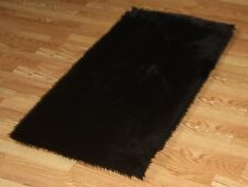 BLACK FAUX FUR FLOKATI SHAG RUGS SOFTEST PLUSH FIBERS AND NON SLIP BACKING