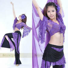 11 color Sexy Lace Blouse with Pants 2pcs Set Belly Dance Costumes