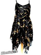 NEW GIRLS GOLD SEQUIN BABYDOLL HANDKERCHIEF HEM GLAMOUROUS PARTY DRESS 2-14 Yrs