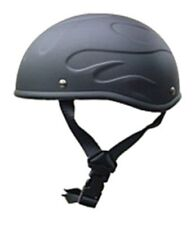"""VOSS NOVELTY MOTORCYCLE HELMET """"FLAT BLACK FLAME BEANIE"""" - FREE SHIPPING!!"""