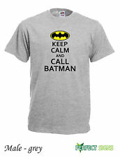 KEEP CALM AND CALL BATMAN Mens T-SHIRT M - 2XL FREE P&P  - Grey