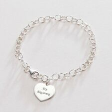 Sterling Silver Chain Engraved Heart Charm Bracelet - Free Jewellery Engraving
