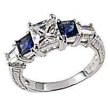 Princess Cubic Zirconia Simulated Sapphire Accents Sterling Silver Wedding Ring