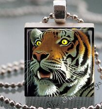 Big Cat Reclaimed Scrabble Tile Pendant Handcrafted Jewelry Charm Tiger AA01