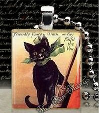 Black Cat with Bow & Broom Scrabble Tile Pendant Handcrafted Black Kitty #1-B