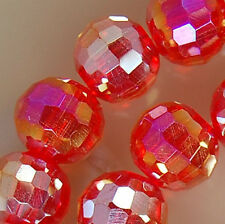 10x12mm Faceted Red Rainbow AB Crystal Beads 36pcs