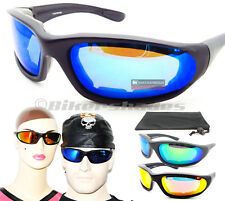 Mirrored BIKER Motorcycle Riding Sunglasses Goggles Foam Padded Mirror Safety