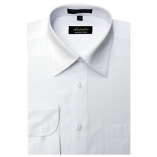 Mens Dress Shirt Plain White Modern Fit Wrinkle-Free Cotton Blend Amanti