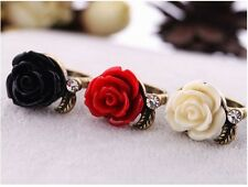 Women Crystal Antique Bronze Black/white/red Rose Flower Branch Finger Ring