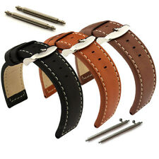 Mens Genuine Leather Watch Strap Band HAVANA Stainless Steel Buckle Spring Bars