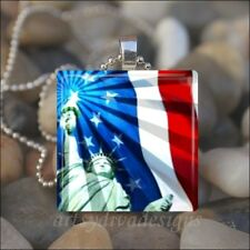 STATUE OF LIBERTY AMERICAN FLAG PATRIOTIC GLASS TILE PENDANT NECKLACE KEYCHAIN