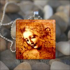 """YOUNG GIRL"" Leonardo Da Vinci PAINTING DRAWING WOMAN GLASS PENDANT NECKLACE"