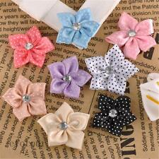 40pcs/100pcs Satin Ribbon Fashion Flower With Beads Appliques 8 Colours K7597